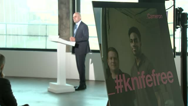 Sajid Javid speech at violent crime summit draws questions he is launching Tory leadership campaign ENGLAND East London INT Various shots of Sajid...