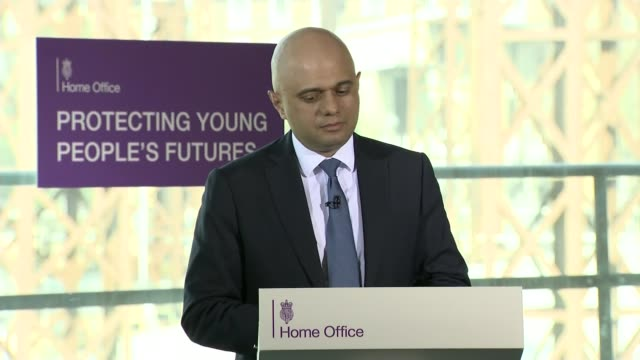 Sajid Javid speech at violent crime summit draws questions he is launching Tory leadership campaign ENGLAND East London INT Sajid Javid MP delivering...