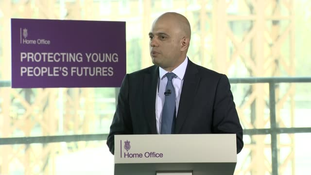 Sajid Javid speech at violent crime summit draws questions he is launching Tory leadership campaign ENGLAND East London INT Wide shot of Sajid Javid...