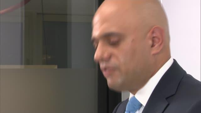 London Shoreditch NSPCC headquarters INT Sajid Javid MP speech SOT / CUTAWAYS / Sarah Champion MP asking question SOT