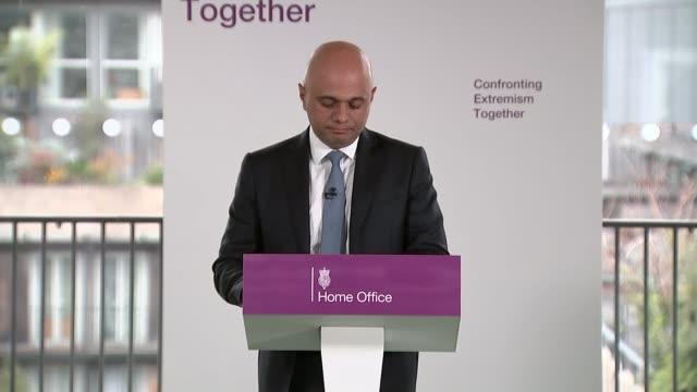 sajid javid warns that racism is fuelling populist politicians; england: london: int sajid javid mp speech sot - i know what it is like to be told to... - ポピュリズム点の映像素材/bロール