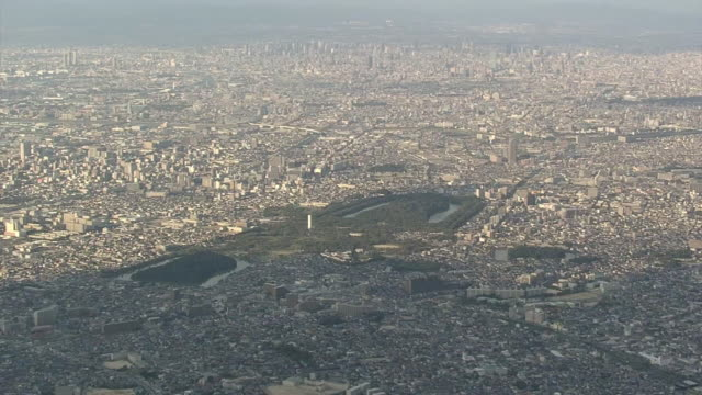 aerial, sakai city and mozu tombs, osaka, japan - circa 6th century stock videos & royalty-free footage