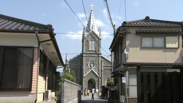 sakitsu church in amakusa, unesco world heritage site, japan - カトリック点の映像素材/bロール