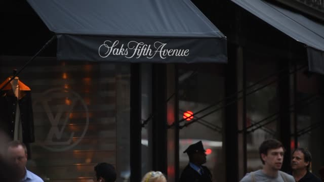 saks fifth avenue flagship store in new york new york united states on september 25 wide shots of the corner of saks fifth avenue flagship store from... - awning stock videos & royalty-free footage
