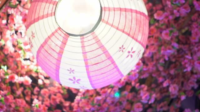 sakura and lanterns - paper lantern stock videos & royalty-free footage