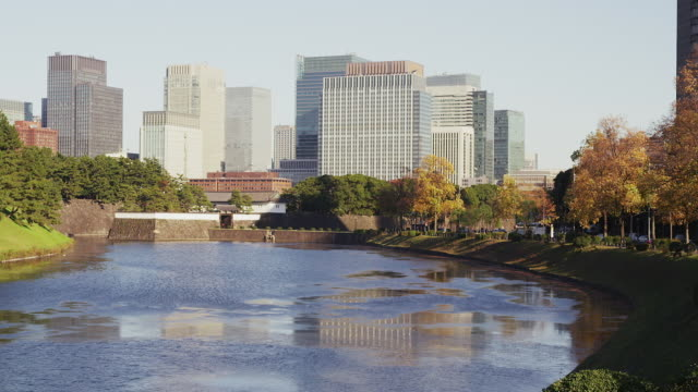sakuradamon gate and office buildings in marunouchi - 門点の映像素材/bロール