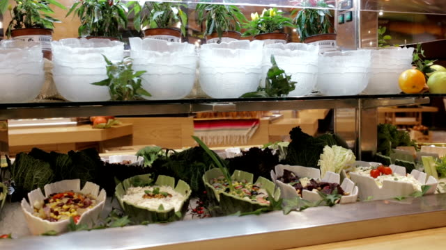 salad bar, handheld shot - salad dressing stock videos & royalty-free footage