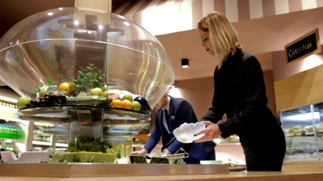 salad bar, handheld shot - business people in a row stock videos & royalty-free footage