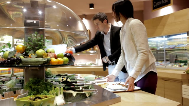 salad bar, handheld shot - canteen stock videos & royalty-free footage