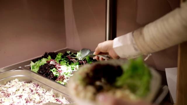 salad bar, handheldshot - coleslaw stock videos & royalty-free footage