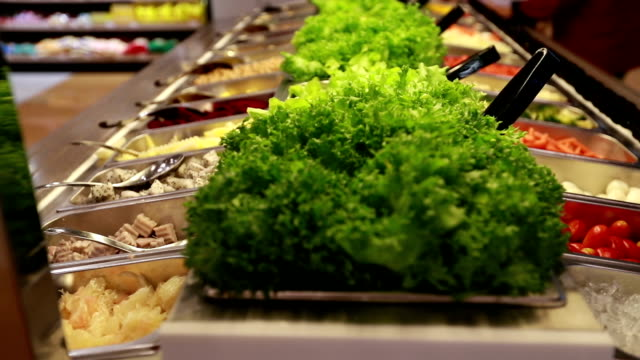 salad bar in supermarket - food bar stock videos and b-roll footage