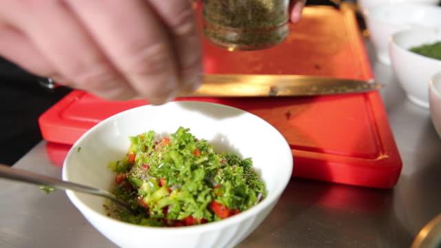 salad preparation - wood plate stock videos & royalty-free footage