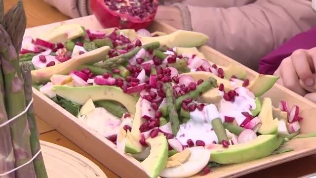 salad with asparagus, avocado, grenadine - avocado salad stock videos & royalty-free footage