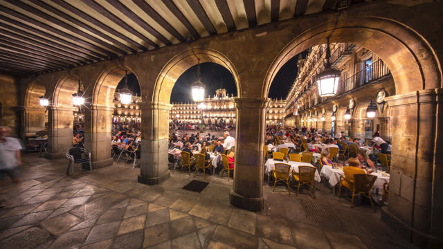 salamanca spain castile and león timelapse plaza - old town stock videos & royalty-free footage