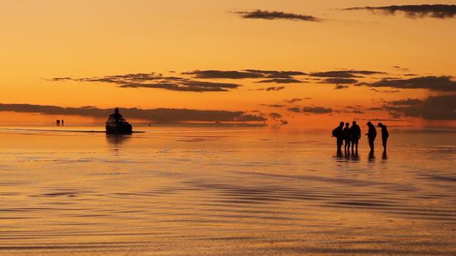 salar de uyuni at sunset, bolivia - latin america - ウユニ塩湖点の映像素材/bロール
