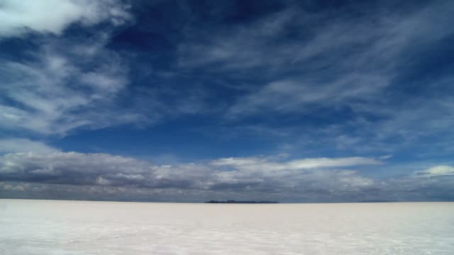 Salar de Uyuni horizon Timelapse with moving clouds and mountains in Bolivia