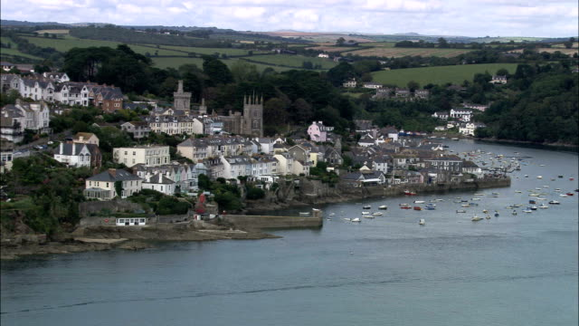salcombe  - aerial view - england, devon, south hams district, united kingdom - devon stock videos & royalty-free footage