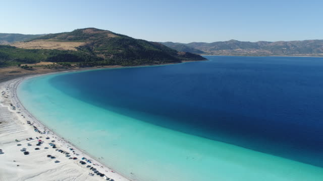 Salda lake Burdur Turkey aerial view