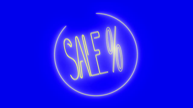 4k sale % animation - neon light, blue background - price tag stock videos & royalty-free footage