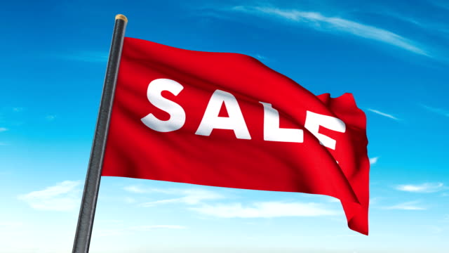 sale flag waving (luma matte included so you can put your own background) - car showroom stock videos & royalty-free footage