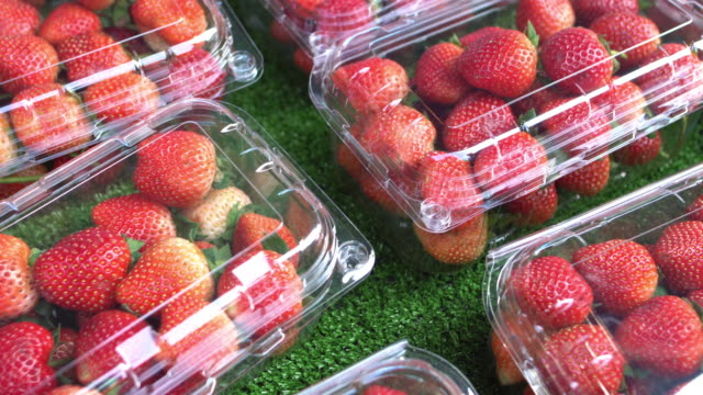 sale strawberries - inquadratura dall'alto di un tavolo video stock e b–roll