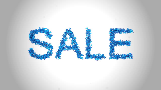 sale symbol made by blue butterflies - alpha - labelling stock videos & royalty-free footage