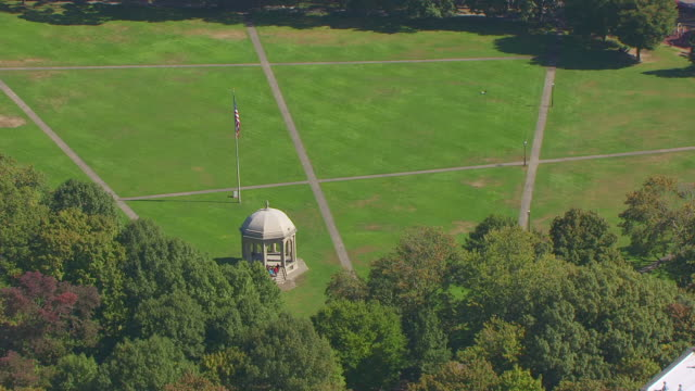 ws aerial pov salem common and people walking along common pathways / salem, massachusetts, united states - salem massachusetts stock videos & royalty-free footage