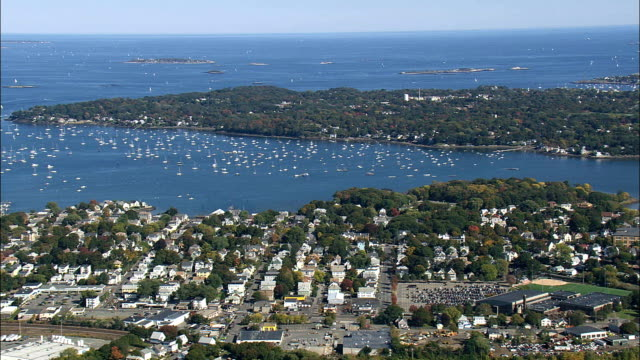 salem harbour  - aerial view - massachusetts,  essex county,  united states - salem massachusetts stock videos & royalty-free footage