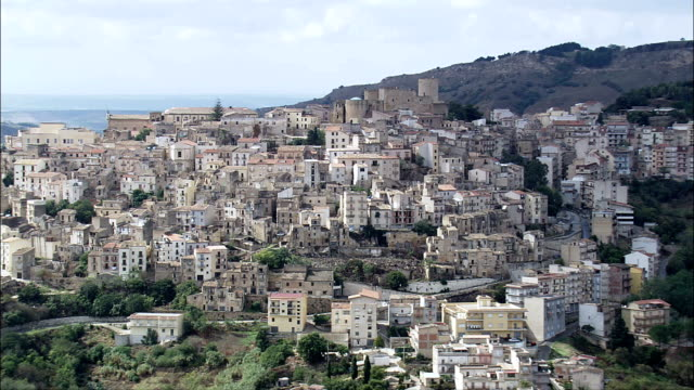 salemi  - aerial view - sicily, province of trapani, salemi, italy - sicily stock videos and b-roll footage