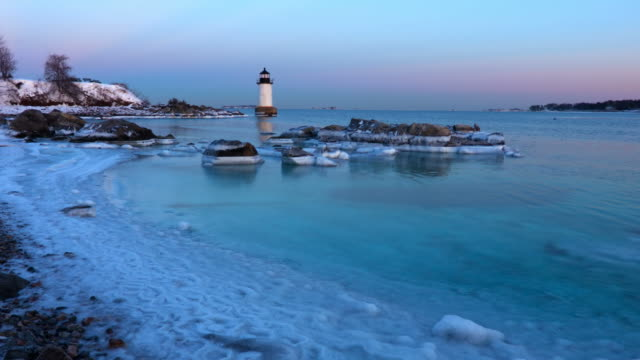 salem's fort pickering light in winter - salem massachusetts stock videos & royalty-free footage