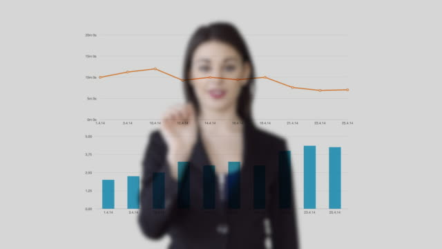 sales women standing in front of virtual business charts analyzing financial investment profits - digital enhancement stock videos & royalty-free footage