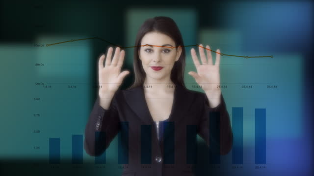 sales women standing in front of virtual business charts analyzing financial investment profits