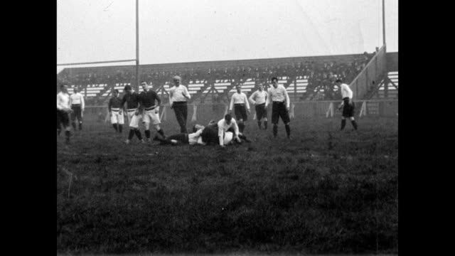 1901 salford battles batley on the rugby field - kicking stock videos & royalty-free footage
