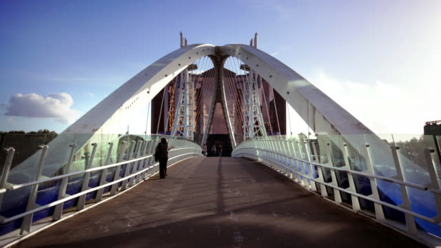 salford quays lift bridge, manchester, uk - manchester england stock videos & royalty-free footage
