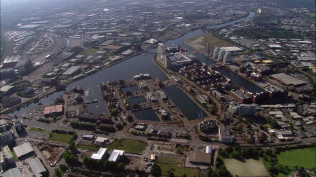 aerial, salford quays, manchester, england - manchester england stock videos and b-roll footage