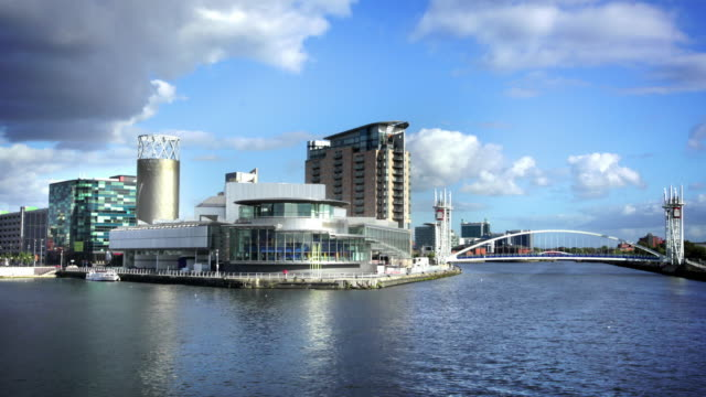 salford quays, manchester, uk - manchester england stock videos and b-roll footage