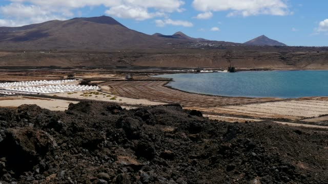 salinas de janubio near la hoya, lanzarote, canary islands, spain, atlantic, europe - atlantic islands stock videos & royalty-free footage