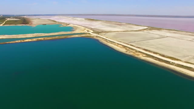 AERIAL: Saline land between the sea and salt lakes