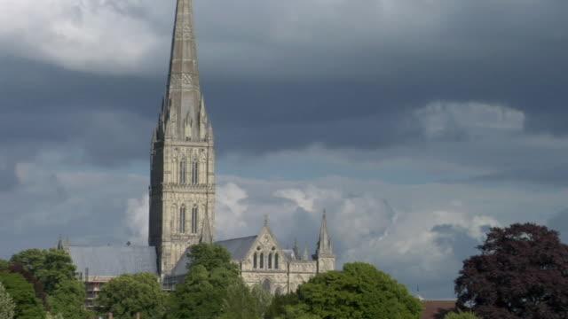 ms zo ws salisbury cathedral steeple / salisbury, england - steeple stock videos & royalty-free footage