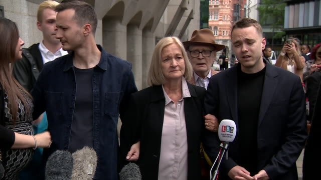Sally Challen's son David speaking to cameras after she had her murder sentence reduced to manslaughter making her a free woman