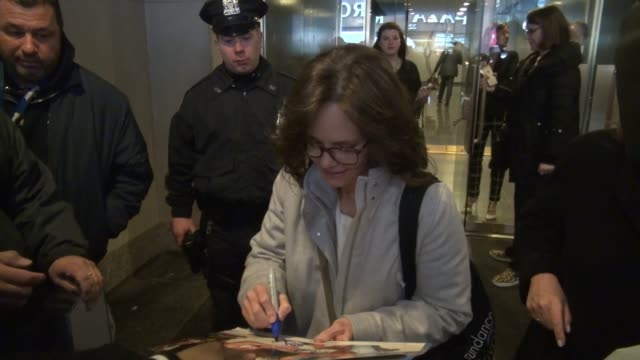 Sally Field leaving the 'TODAY' show signs for fans in New York City in Celebrity Sightings in New York