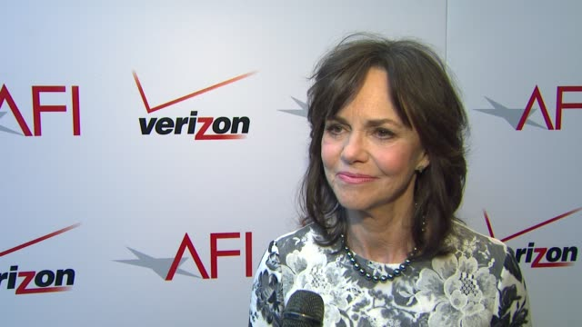 interview sally field on the afi event and on her film 'lincoln' at the 13th annual afi awards luncheon in beverly hills ca on 1/11/13 - 映画 リンカーン点の映像素材/bロール