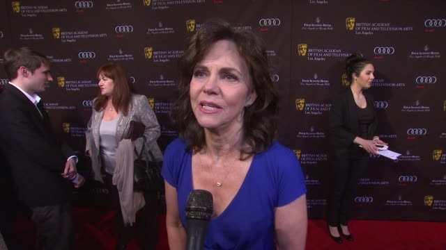 interview sally field on what brings out how it feels to be nominated and if she is ready for the globesêat bafta los angeles awards season tea on... - sally field stock videos & royalty-free footage