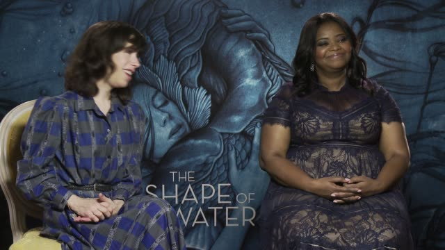 interview sally hawkins octavia spencer on being part of art the need for creative films guillermo del toro at 'the shape of water' interview 74th... - sally hawkins stock-videos und b-roll-filmmaterial