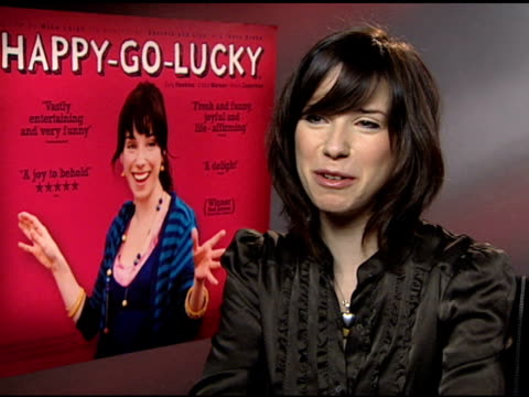 sally hawkins on winning a best actress award at the berlin film festival and how mike leigh cast her at the 'happygolucky' junket at null in london... - sally hawkins stock videos & royalty-free footage