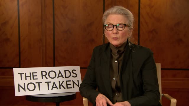 vídeos y material grabado en eventos de stock de interview sally potter on how only actors as good as javier bardem and elle fanning can work with physical restrictions at 'the roads not taken'... - actor