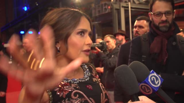 """salma hayek, actress, on playing different roles this year and playing in the film 'the roads not taken"""" 70th berlin international film festival,... - arts culture and entertainment stock videos & royalty-free footage"""
