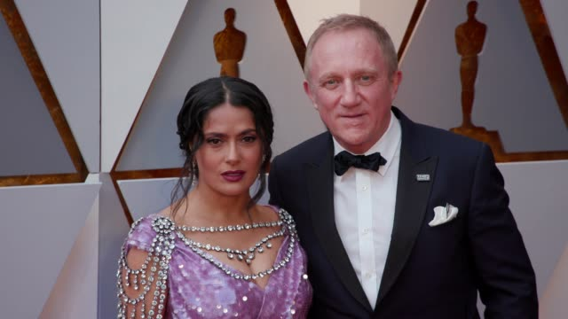 salma hayek and françois-henri pinault at the 90th academy awards - arrivals at dolby theatre on march 04, 2018 in hollywood, california. - salma hayek stock videos & royalty-free footage