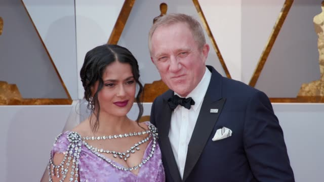 salma hayek and françoishenri pinault at the 90th academy awards arrivals at dolby theatre on march 04 2018 in hollywood california - 90th annual academy awards stock videos & royalty-free footage