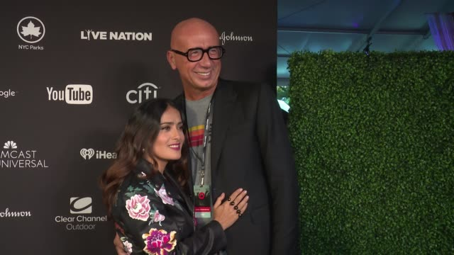 salma hayek and gucci ceo marco bizzarri at 2016 global citizen festival in central park to end extreme poverty by 2030 at central park on september... - marco marco designer label stock videos and b-roll footage